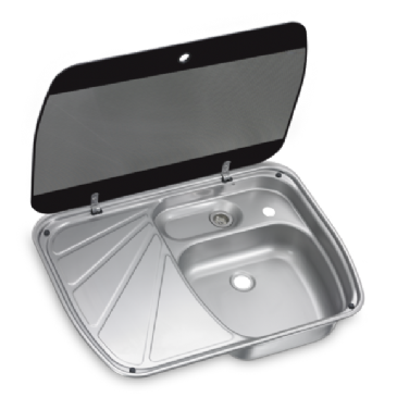 DOMETIC SNG 6044 SINK AND DRAINER WITH GLASS LID, 600 X 445 MM